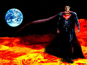 Macrocosm Painting Framed Prints - Man of Steel Framed Print by Daniel Janda