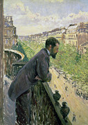 Man Looking Down Posters - Man on a Balcony Poster by Gustave Caillebotte