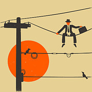 Minimalist Digital Art Framed Prints - Man On A Wire Framed Print by Jazzberry Blue