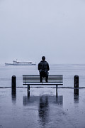 Gloomy Prints - Man On Bench Print by Joana Kruse