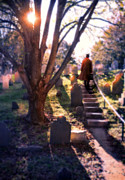 Young Man Framed Prints - Man on Cemetery Steps Framed Print by Jill Battaglia