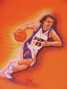 Basketball Players Prints - Man On Fire Print by Marilyn Smith