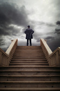 Thriller Metal Prints - Man On Stairs Metal Print by Joana Kruse