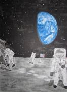 Man In The Moon Paintings - Man on the Moon by Kathy Marrs Chandler