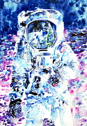 The First Man On The Moon Prints - MAN on the MOON - watercolor portrait Print by Fabrizio Cassetta