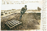 Farmer Drawings - Man Pulling a Harrow by Vincent van Gogh