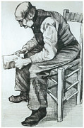 Impressionism Drawings Prints - Man Reading the Bible Print by Vincent van Gogh