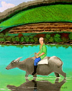 Pinoy Framed Prints - Man Riding a Carabao Framed Print by Cyril Maza