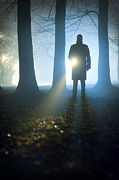 Police Officer Prints - Man Searching With A Flashlight Or Torch Print by Lee Avison