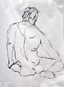 Featured Drawings Framed Prints - Man Seated With Back Displayed Framed Print by Dennis Lansdell