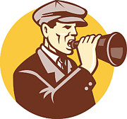 Gentleman Prints - Man Shouting With Vintage Bullhorn Retro Print by Aloysius Patrimonio
