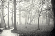 Mysterious Stranger Framed Prints - Man Standing If Frosty Foggy Woodland Framed Print by Lee Avison