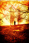Thriller Framed Prints - Man standing in front of a blazing forest fire Framed Print by Edward Fielding