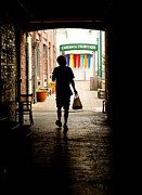 Asheville Posters - Man Texting in Alleyway Poster by Mark Wright