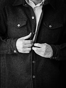 Jacket Photos - Man Unbuttoning His Shirt by Edward Fielding