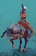 Rodeo Art Painting Posters - Man Up Poster by Patricia A Griffin