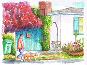 Bougainvilleas Prints - Man walking a dog in West Hollywood - California Print by Carlos G Groppa