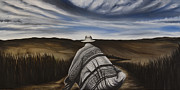 Poncho Paintings - Man Walking by Holly Siig