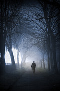 Mysterious Stranger Framed Prints - Man Walking In Fog At Night Framed Print by Lee Avison