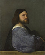 Tiziano Vecellio Prints - Man With a Quilted Sleeve Print by Titian