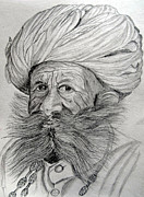 Pastoral Drawings Framed Prints - Man with Beard. Framed Print by Seshadri Sreenivasan
