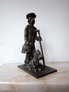 Dog  Sculpture Prints - Man with Dog Print by Milen Litchkov