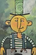 Tim Nyberg Mixed Media - Man with Fancy Hat and Suspenders by Tim Nyberg