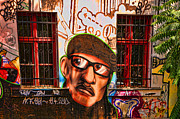 Graffiti Art For The Home Posters - Man with glasses Poster by Graham Hawcroft pixsellpix