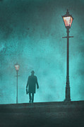 Foggy Street Scene Acrylic Prints - Man With Hat And Overcoat Carrying A Briefcase In Fog Acrylic Print by Lee Avison