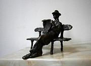 Realism Sculpture Metal Prints - Man with newspaper Metal Print by Nikola Litchkov