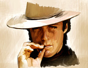 Clint Eastwood Art Paintings - Man With No Name Clint Eastwwod by Iconic Images Art Gallery David Pucciarelli