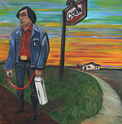 Country Dirt Roads Painting Prints - Man with Revenge Print by Aimee Vance