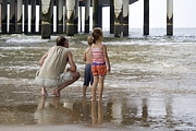 Scheveningen Pier Posters - Man with son and daughter at the Pier in Scheveningen Netherlands Poster by Ronald Jansen