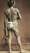 Male Posters - Man with traditional Japanese Irezumi tattoo Poster by Japanese Photographer