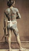 Man With Traditional Japanese Irezumi Tattoo Print by Japanese Photographer