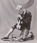 Music Pyrography Metal Prints - Man with violin. Metal Print by Allan Koskela
