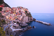 North Italian Town Framed Prints - Manarola at dusk in the Cinque Terre Italy Framed Print by Matteo Colombo