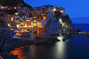 Alex Sukonkin Framed Prints - Manarola at night Framed Print by Alex Sukonkin