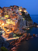 North Italian Town Framed Prints - Manarola at night in the Cinque Terre Italy Framed Print by Matteo Colombo