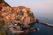 North Italian Town Framed Prints - Manarola at sunset in the Cinque Terre Italy Framed Print by Matteo Colombo