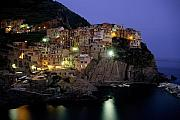 Lit Metal Prints - Manarola at Twilight Metal Print by Andrew Soundarajan