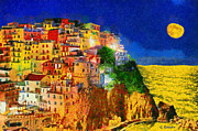 Sea Moon Full Moon Painting Metal Prints - Manarola by night Metal Print by George Rossidis