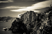Cinque Terre Posters - Manarola Cliffs Black and White Poster by David Waldo