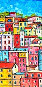 Traditional Doors Painting Framed Prints - Manarola Colorful Houses Painting Detail Framed Print by Ana Maria Edulescu