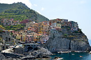 Colorful Buildings Posters - Manarola Poster by Corinne Rhode