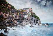 Ice Wine Painting Posters - Manarola Italy Poster by Jean Walker