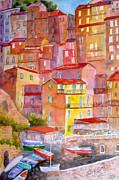 Picturesque Painting Posters - Manarola Italy Poster by Mohamed Hirji