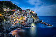 The Houses Framed Prints - Manarola Night Framed Print by George Oze
