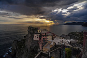 Italian Sunset Posters - Manarola Sunset Storm Poster by Mike Reid