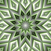 Contemplation Posters - Mandala 107 Green Poster by Terry Reynoldson